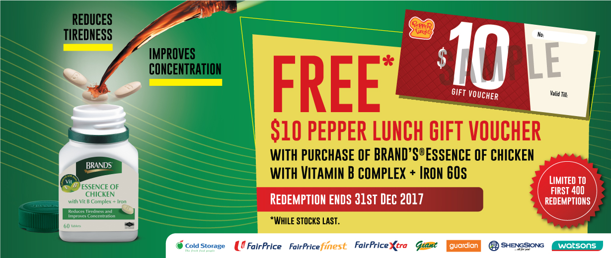 Free Pepper Lunch voucher with BRAND'S<sup>®</sup>